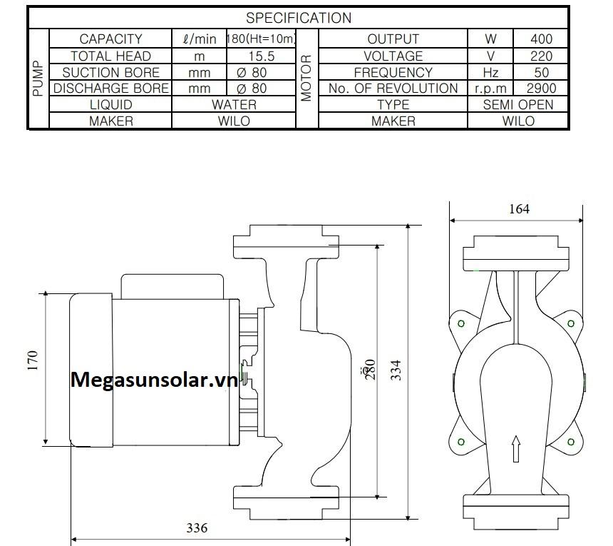 Kích thước bơm tuần hoàn nước nóng Wilo PH-400E