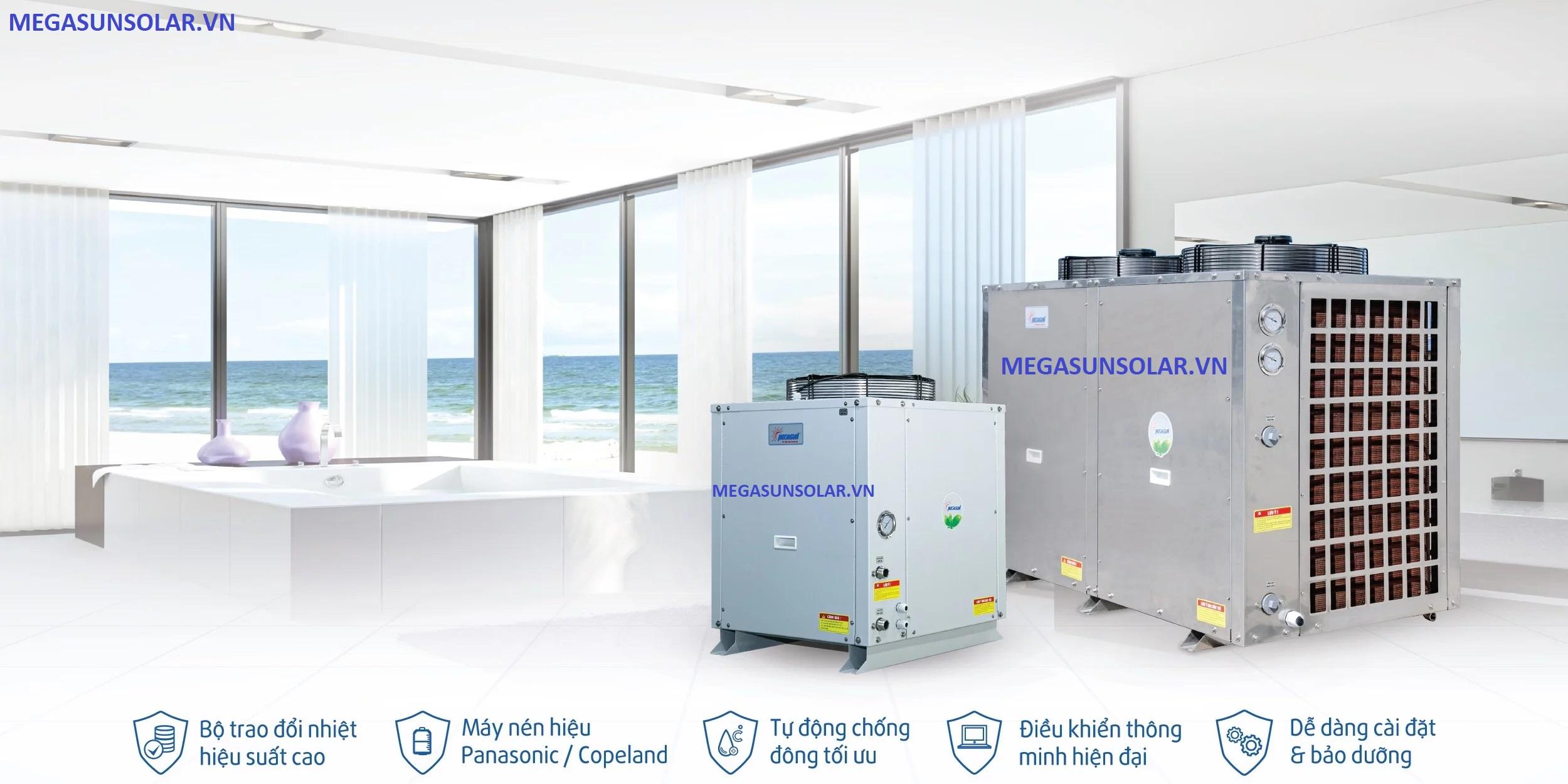 bơm nhiệt công nghiệp Megasun kết hợp bồn bảo ôn