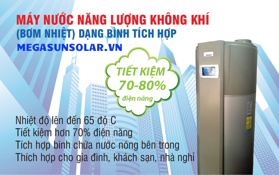 Máy nước nóng năng lượng không khí bơm nhiệt bình tích hợp