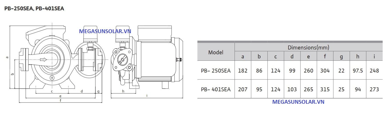 Kích thước bơm tăng áp điện tử có bình tích áp WILO PB-250SEA