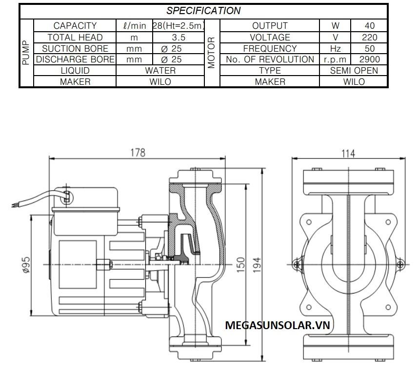 Kích thước bơm tuần hoàn Wilo PH-045E