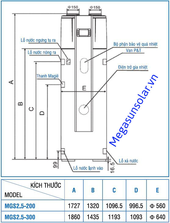 Kích thước máy bơm nhiệt bình tích hợp Megasun MGS2.5-200