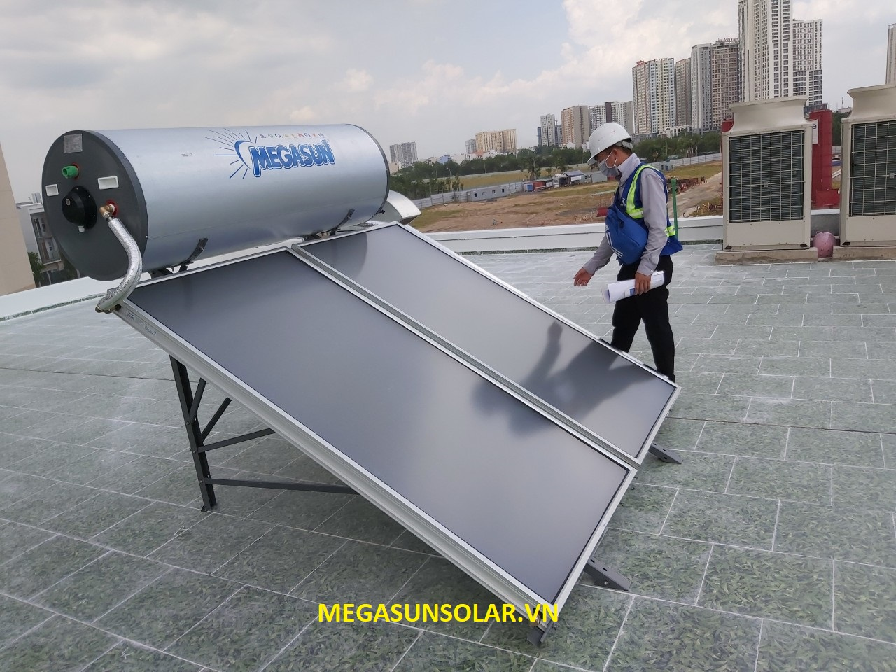 Nước nóng năng lượng mặt trời chịu áp lực cao dạng tấm phẳng MEGASUN ST-2000