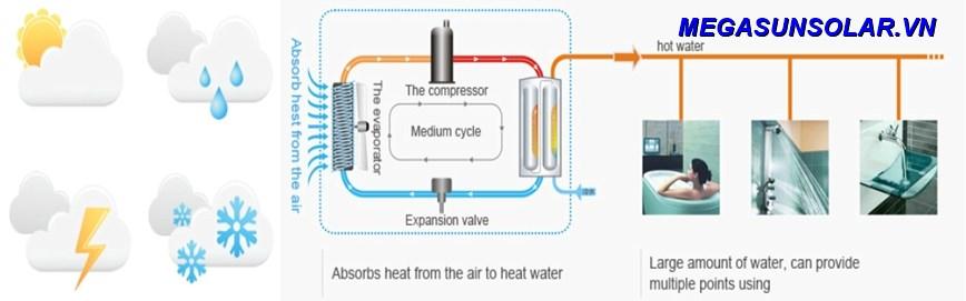 Sơ đồ nguyên lý hoạt động của máy nước nóng bơm nhiệt gia đình Megasun MGS-1HP-200L