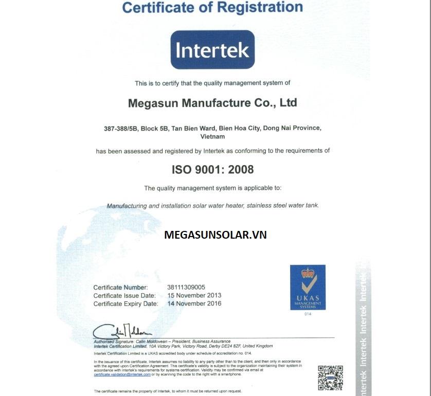 Chứng nhận Intertek cho tấm phẳng năng lượng mặt trời MEGASUN