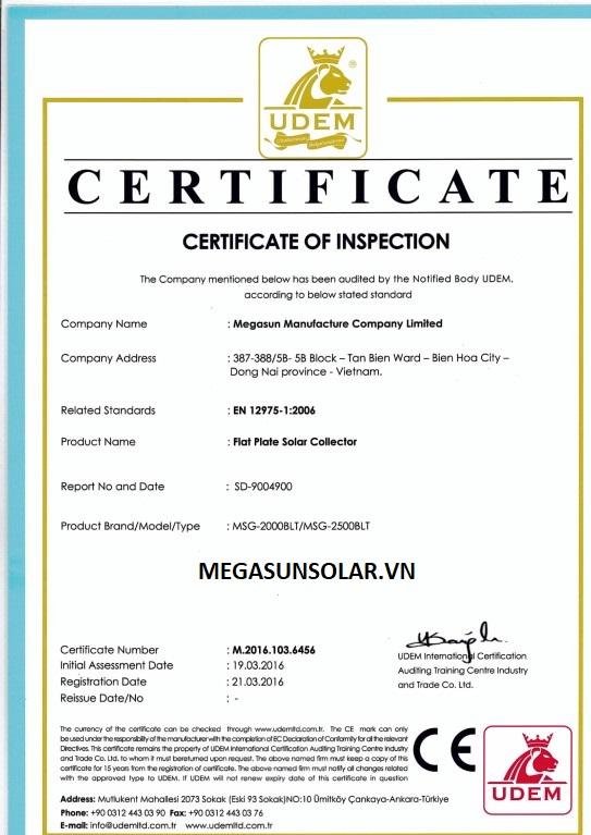 Chứng nhận tấm phẳng năng lượng mặt trời MEGASUN