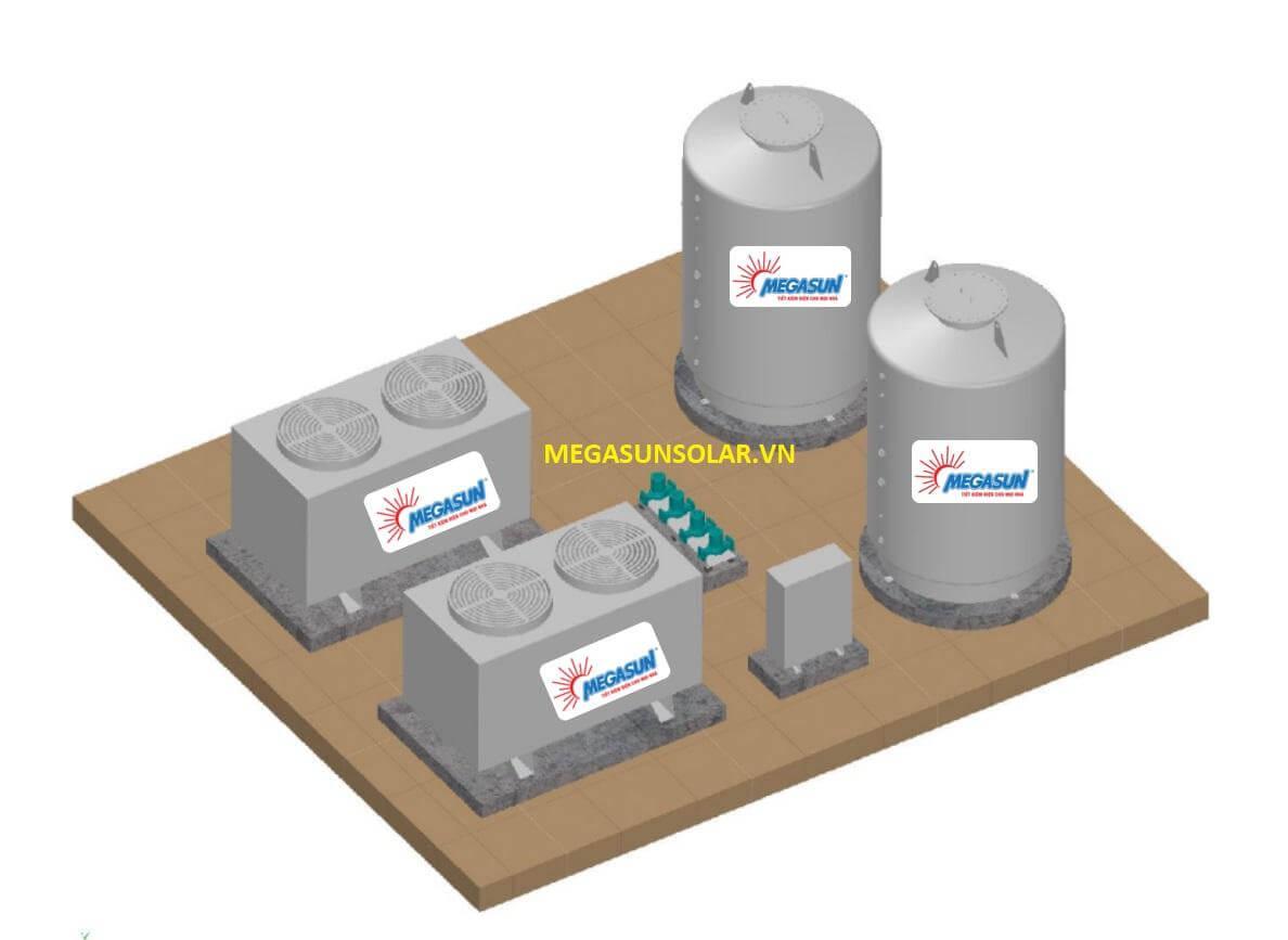 Sơ đồ lắp đặt máy bơm nhiệt công nghiệp Carolex