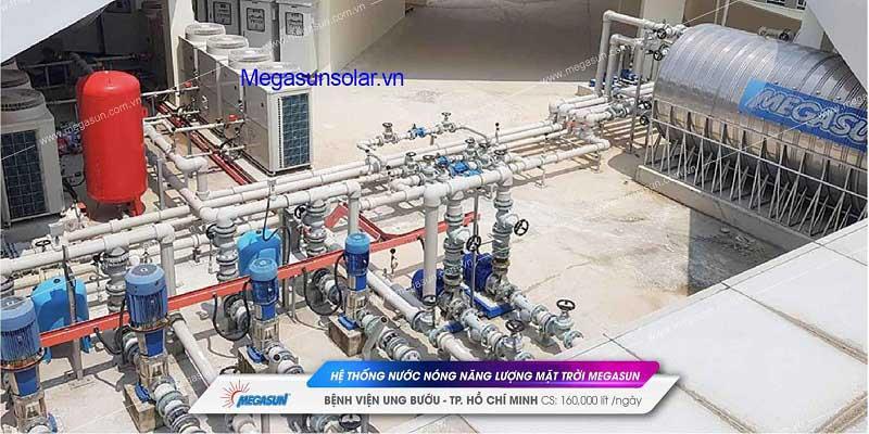 Giàn máy nước nóng năng lượng mặt trời tấm phẳng chịu áp lực Megasun