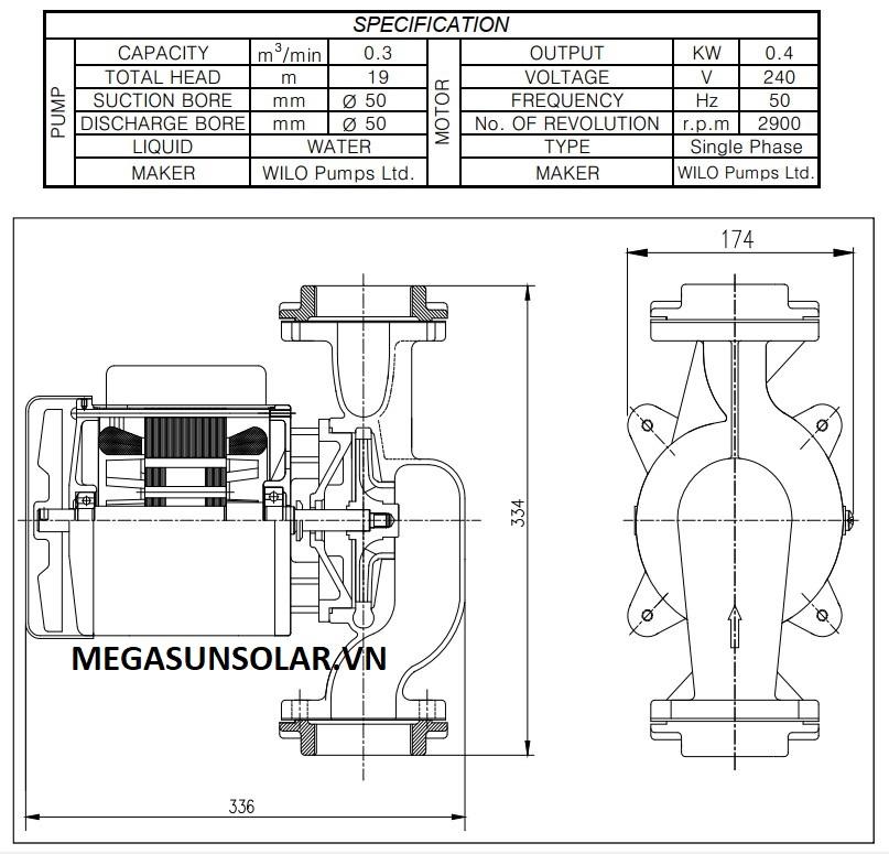 Kích thước cơ bản của bơm Wilo PH-401E