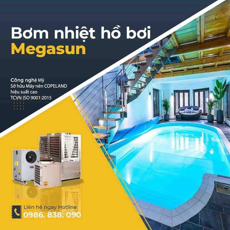 Hệ thống nước nóng cho bể bơi - swimming pool heat pump Megasun