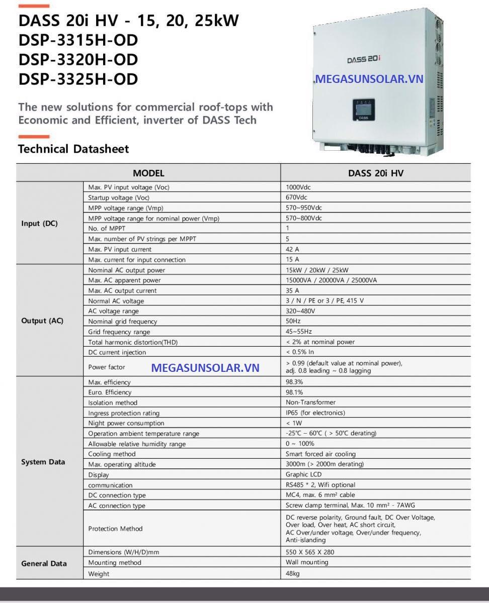 Bộ biến tần biến đổi điện năng lượng mặt trời Inverter Dass 15KW- Nhập khẩu Hàn Quốc
