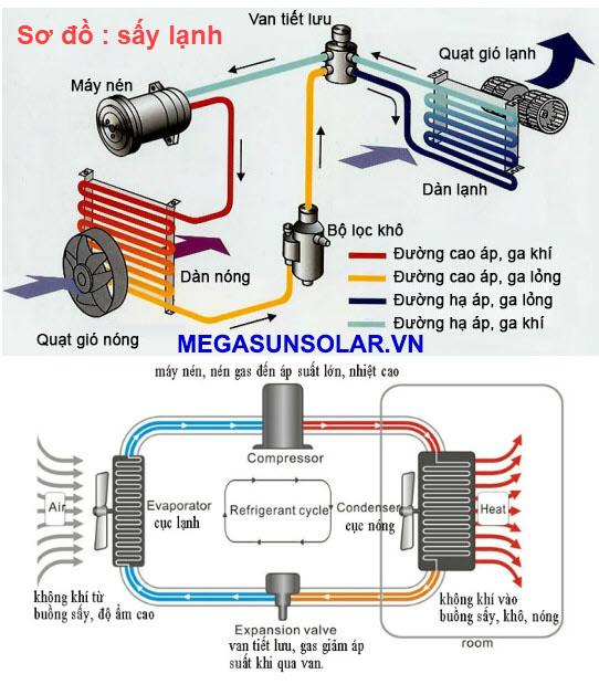 Sơ đồ nguyên lý hoạt động của máy sấy lạnh công nghiệp Megasun